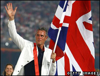 Mark Foster carrying the Union Jack at the Opening Ceremony for the 2008 Beijing Olympics