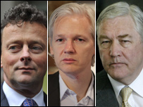 (L-R) Tony hayward, Julian Assange, Conrad Black