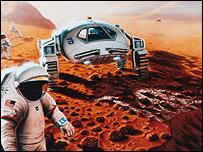 Artist's futuristic vision of life on Mars