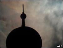 The Baiturrahman mosque in Indonesia in silhouette