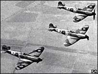 Spitfires in flight