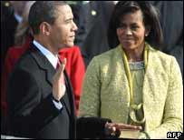 Barack Obama at his inauguration