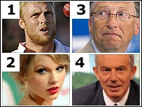 Andrew Flintoff, Taylor Swift, Bill Gates, Tony Blair