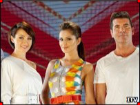 X Factor judges Dannii Minogue, Cheryl Cole and Simon Cowell