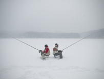 Two ice fishermen