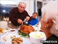 man carving turkey