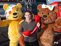 Pudsey with Michael Owen and friend