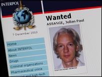 Julian Assange on Interpol site