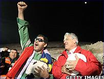 Miner Luis Urzua and Chile's President Sebastian Pinera