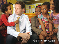 Nick Clegg with a family
