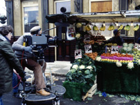Filming on the Eastenders set in 1985