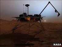 Artist's impression of probe on Mars