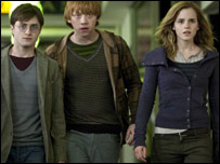 Daniel Radcliffe, Rupert Grint and Emma Watson, as Harry, Ron and Hermione in Harry Potter and the Deathly Hallows