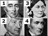 Duke of Wellington, Florence Nightingale, Elizabeth Fry and George Stephenson