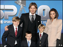 David Beckham, his wife and kids