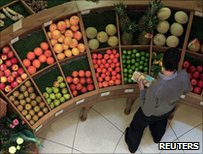 Shopper browsing fruit and veg