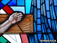 Stained glass - Jesus's hand on the cross