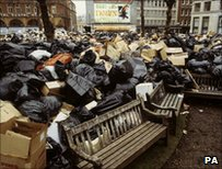 Emergency refuse site - Leicester Square in 1979