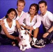Mabel in 1998 with Konnie Huq, Stuart Miles, Katy Hill and Richard Bacon