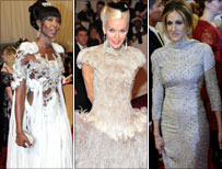 Naomi Campbell, Daphne Guinness and Sarah Jessica Parker in McQueen dresses
