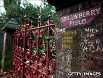 Gates on Liverpool's Strawberry Field, with fan graffiti