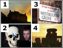 Edingburgh Castle, skull, Westbourne Grove street sign and Stonehenge