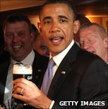 Barack Obama with pint of Guinness