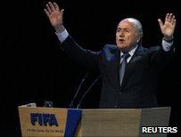 Sepp Blatter, re-elected unopposed