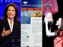 Bachmann, Senate website and Spider-man's upside-down kiss