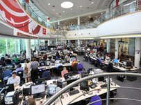 The newsroom at BBC Television Centre in London