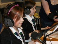 Two School Reporters in a radio studio