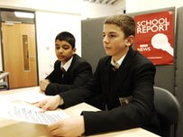 School Reporters preparing to read a bulletin