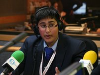 A School Reporter in a radio studio