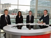 School Reporters presenting a bulletin in Salford