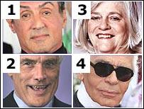 Sylvester Stallone, Robert Kilroy-Silk, Ann Widdecombe and Karl Lagerfeld