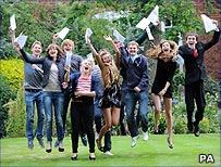 Students getting A-level results