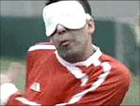 Blind footballer
