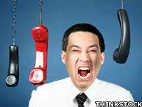 Man shouting at phones
