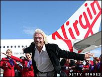 Sir Richard Branson and Virgin staff