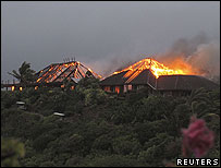 Necker Island on fire