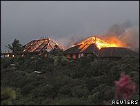 Necker Island on fire