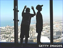 Children looking at Melbourne from Eureka Tower