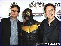 Actor Rainn Wilson, Phoenix Jones and film producer James Gunn