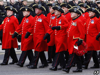 Former soldiers marching