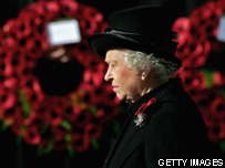 The queen at Remembrance ceremony