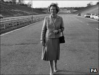 Mrs Thatcher on M25