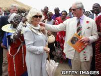 Duchess of Cornwall and Prince Charles with a Maasai ribe in Tanzania
