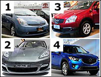 Clockwise from top left: Toyota Prius, Nissan Qashqai, Mazda CX-5 and Porsche
