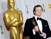 Colin Firth with his Academy Award for best actor