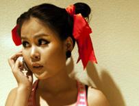 Model using mobile phone